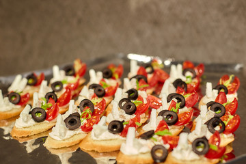 Fotobehang Assortiment Canapes on a tray