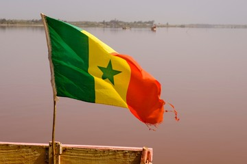 Flag of Senegal, Lac Rose, Dakar region, Senegal, Africa