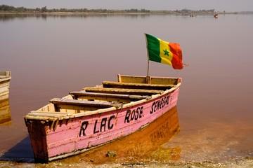 Colourful wooden boat at Lac Rose, Dakar region, Senegal, Africa