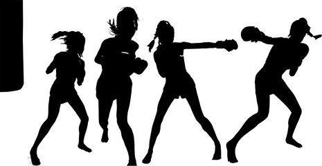女性ボクサーのシルエット