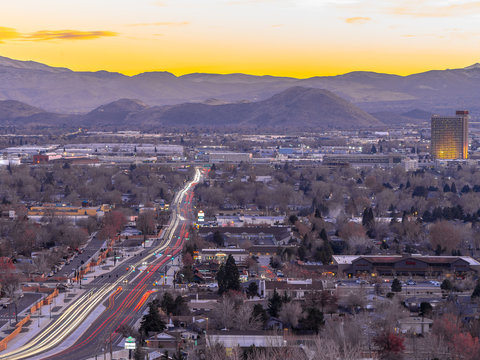 City of Sparks, Nevada, cityscape long exposure photograph.