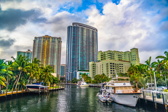 Downtown Fort Lauderdale, Florida, USA Skyline from Waterway