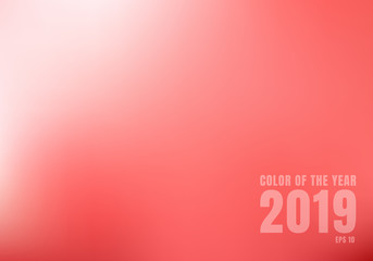 Abstract red blurred background with light. Trend color living coral 2019.