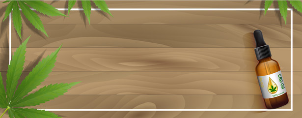 Marijuana plant and cannabis on wood floor vector.