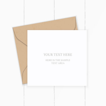 Flat lay top view elegant white composition letter kraft paper envelope on wooden background