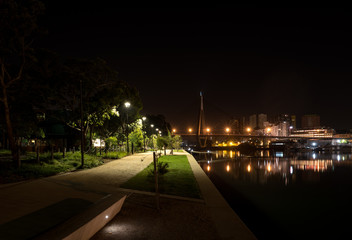 waterside park at night