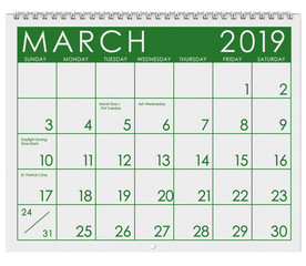 2019: Calendar: Month Of March