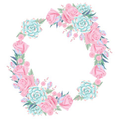 floral background wreath with roses flower and succulent