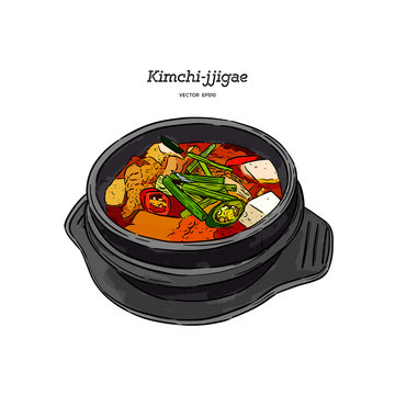 Korean traditional Kimchi soup in a clay pot , Hand draw sketch vector.
