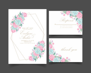 floral wedding invitation with roses flower and succulent