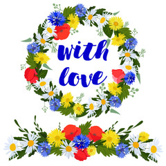 bright wreath and colorful garland of daisies, cornflowers and poppies with love