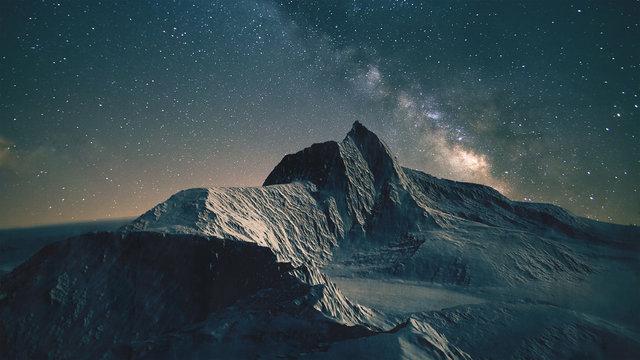 Mountain scene at night