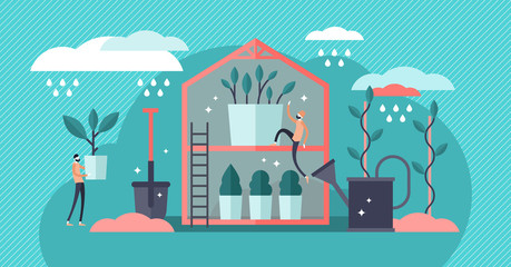 Plant nursery vector illustration. Flat mini pro gardening persons concept.
