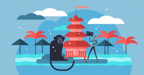 Bali vector illustration. Flat mini tourist person concept in exotic travel