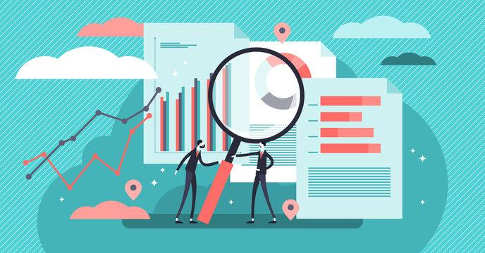 Research vector illustration. Mini persons concept diagram analyze process.