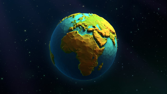 3D Low Poly Earth - Europe & Africa - Beautiful Illustration Over a Background of Stars
