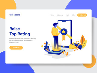 Landing page template of Top Rated Concept. Modern flat design concept of web page design for website and mobile website.Vector illustration