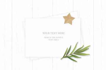 Flat lay top view elegant white composition paper tarragon leaf and star shape craft object on wooden background