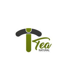 T letter vector icon for natural tea product