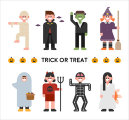 Halloween characters in various costumes. halloween concept illustration. flat design vector graphic style.