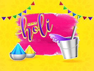 Vector illustration of bucket with color guns and bowls on abstract yellow background for Happy Holi festival.