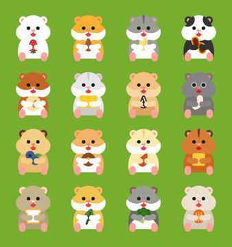 cute hamster set illustration. flat design vector graphic style.