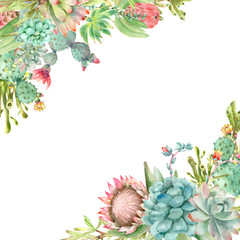 Succulents banner watercolor