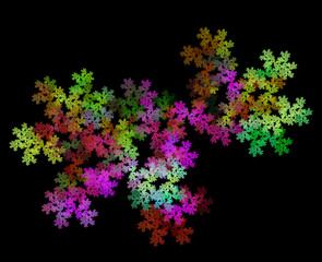Rainbow floral explosion. Bright multicolored background. Fractal abstraction.
