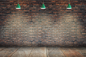 Brick wall with three hanging lamp. Directional light. Place for text.