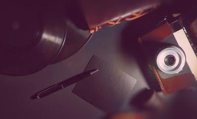 Vinyl plate and retro camera