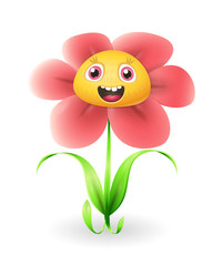 Cute flower character - vector illustration isolated on white background