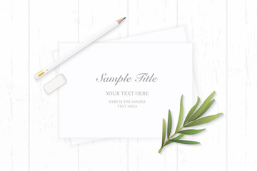 Flat lay top view elegant composition paper plant tarragon leaf and pencil eraser on wooden background