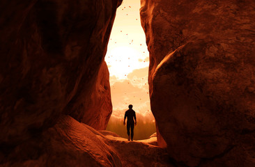 Man walking to the light and exit the cave,3d illustration Wall mural
