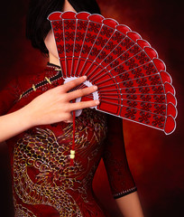 Asian girl with Traditional Chinese fan,3d rendering