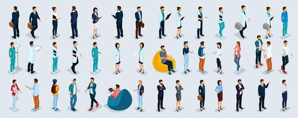 Isometric Set Businessmen and Businesswomen