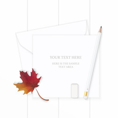Flat lay top view elegant white composition letter paper envelope pencil autumn maple leaf and eraser on wooden background