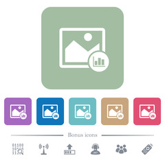 Image histogram flat icons on color rounded square backgrounds