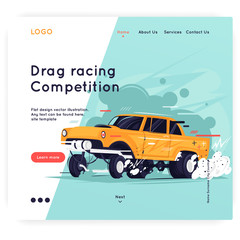 Website Template. Gasser. Flat design vector illustration.