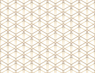 Seamless geometric golden lines pattern. Modern design background with rhombus. Golden texture.
