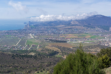 Aerial view of the seaside valley. Crimea.