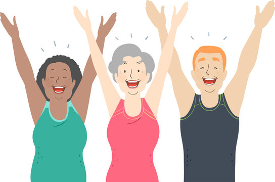 Seniors Laughter Yoga Illustration