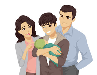 Teen Boy Baby Family Illustration