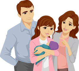 Teen Girl Baby Family Illustration