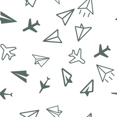 Plane, aircraft travel concept. Seamless vector EPS 10 pattern