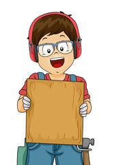 Kid Boy Woodwork Board Illustration