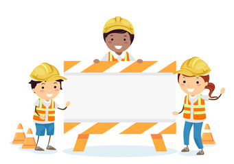 Stickman Kids Construction Sign Board Illustration
