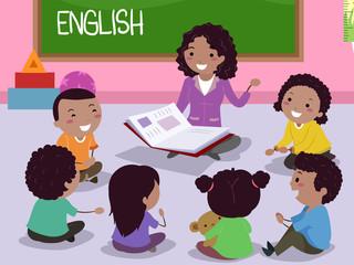 Stickman Kids Africa English Teacher Illustration