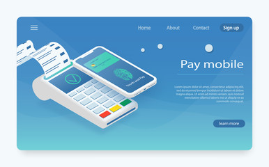 Customer paying with NFC technology. mobile payment ,online shopping concept