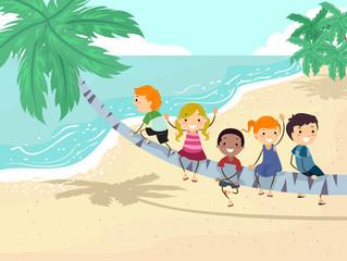 Stickman Kids Palm Tree Play Illustration