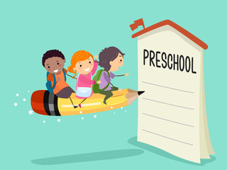 Stickman Kids Pencil Ride Preschool Enroll